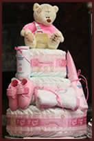 Girls pink tier 3 nappy cake