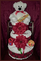 Red tier 3 diaper cake