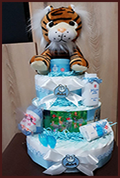 In the jungle or the big five nappy cake theme