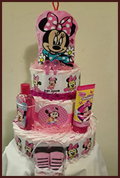 Minnie mouse themed nappy cake