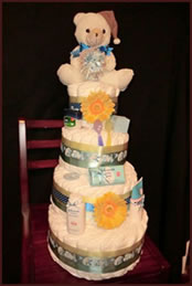 4 layer diaper cake created by Nappy Cake Classics