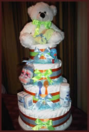Colourful 4 tiered nappy cake