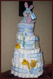 Blue tier 4 nappy cake