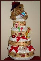 Nappy cake with a christmas theme