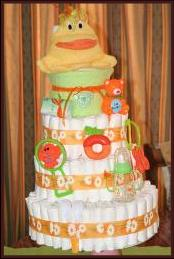 Orange and green nappy cake