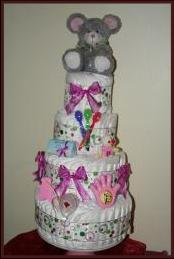 Tier 4 purple and grey nappy cake