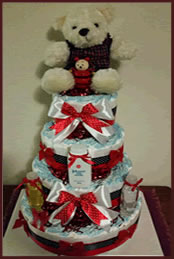 Red and black 4 tiered nappy cake