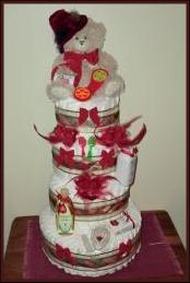 4 layer red and brown nappy cake