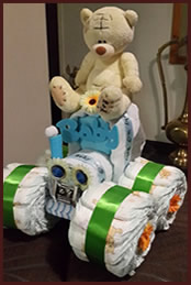 Tractor theme nappy cake